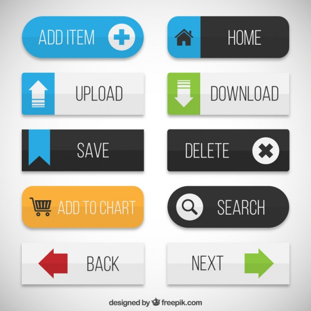 626x626 Flat Web Buttons Vector Free Download