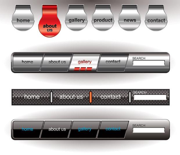 620x534 Metallic Editable Website Button Vector