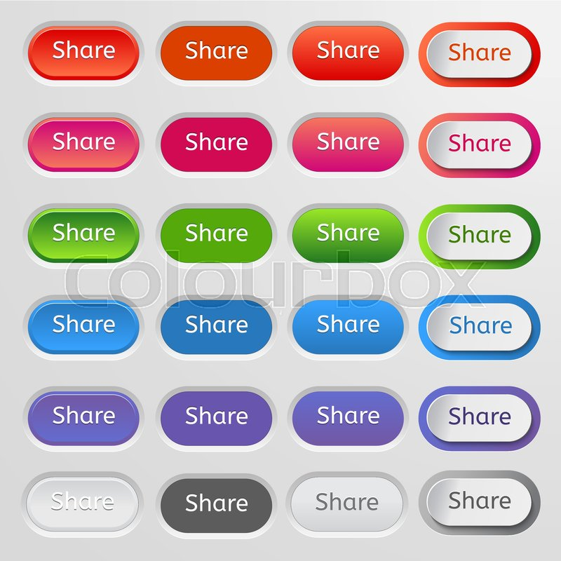 800x800 Set Of Colored Web Buttons. Colorful Collection Of Vector Buttons
