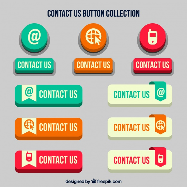 626x626 Set Of Retro Contact Web Buttons Vector Free Download