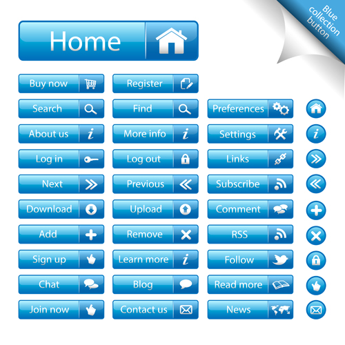 500x500 Shiny Blue Web Buttons Vectors Pack