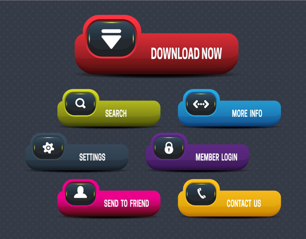600x470 Website Buttons Illustration With Modern Plastic Style Free Vector