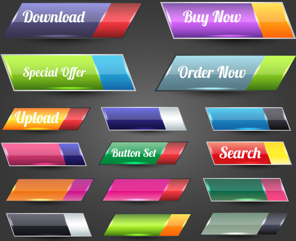 600x488 Website Buttons Vector Illustration With Shiny Colored Ellipsoidal
