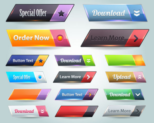 600x481 Free Vector Website Pushbutton Set 02 Free Download