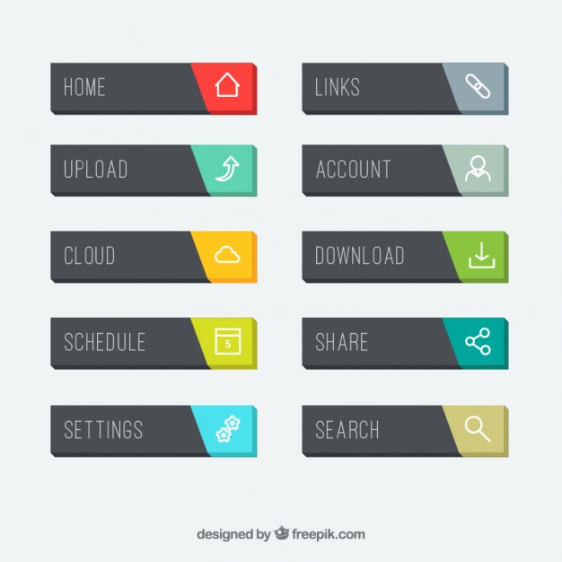 626x626 Website Button Design Vector Rounded Buttons For Web Pack Vector