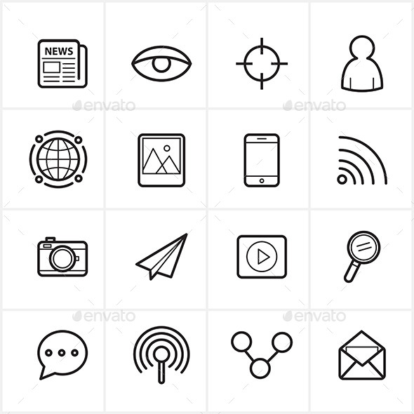 590x590 Flat Line Icons Communication And Web Icons Vector By Karawan