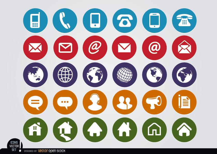 840x594 Round Web Contact Icons Set