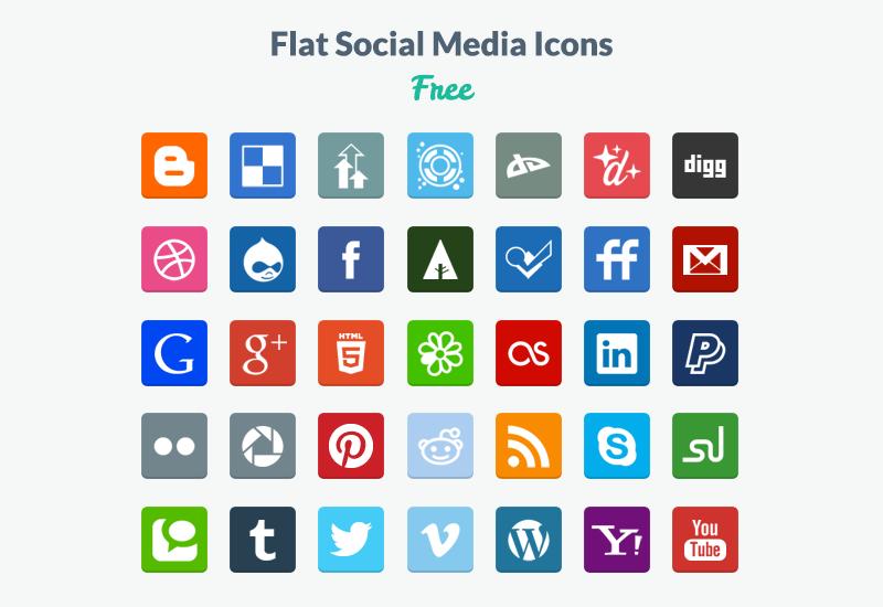 800x550 20 Beautiful Free Flat Social Media Icons Sets 2017