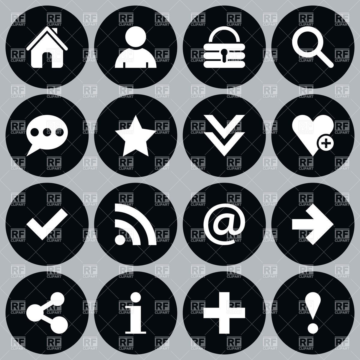 1200x1200 Simple Black Website Icons Round Shape Vector Image Vector