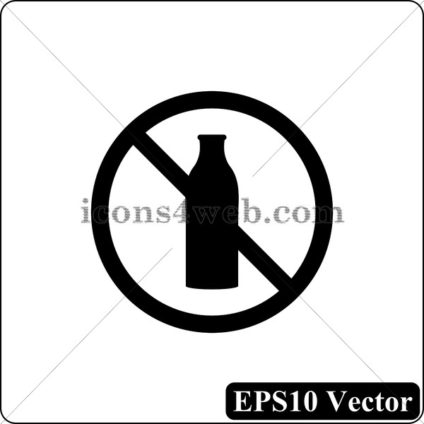 600x600 Dairy Free Black Icon. Eps10 Vector.