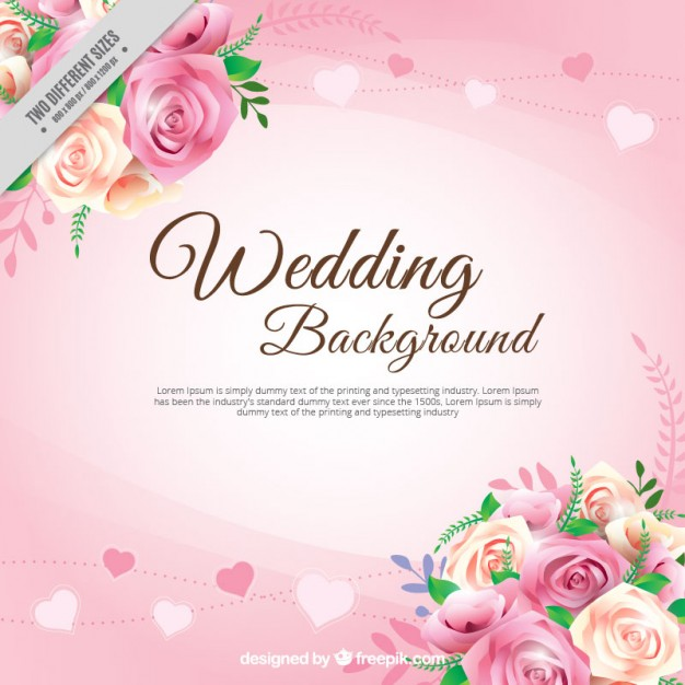 626x626 Realistic Roses With Leaves Wedding Background Vector Free Download