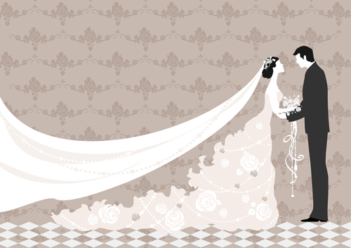 500x354 Romantic Wedding Elements Backgrounds Vector 05 Free Download