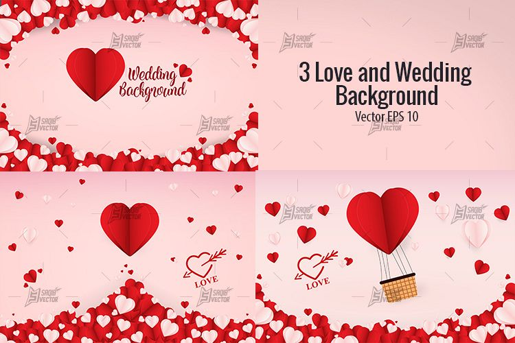 750x500 3 Love And Wedding Background Vector Template Design
