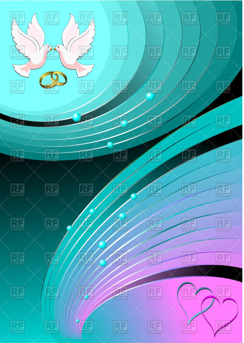 853x1200 Wedding Background With Doves, Rings And Hearts Vector Image