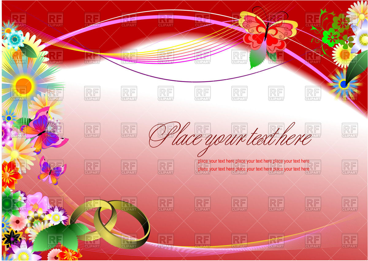 1200x850 Floral Wedding Invitation With Rings On Purple Background Vector