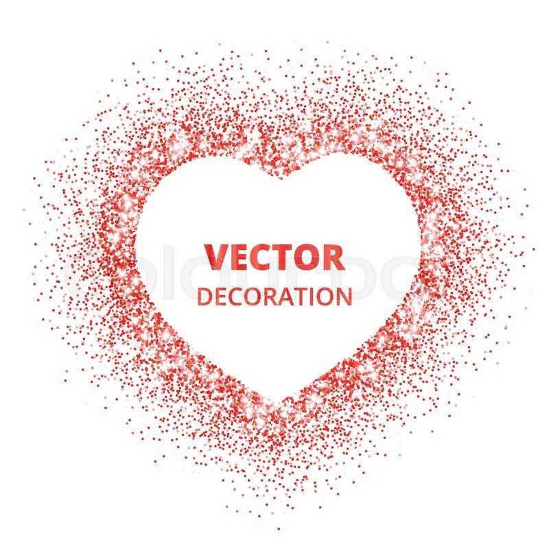 800x800 Red Glitter Heart Frame, Border. Vector Dust Isolated On White
