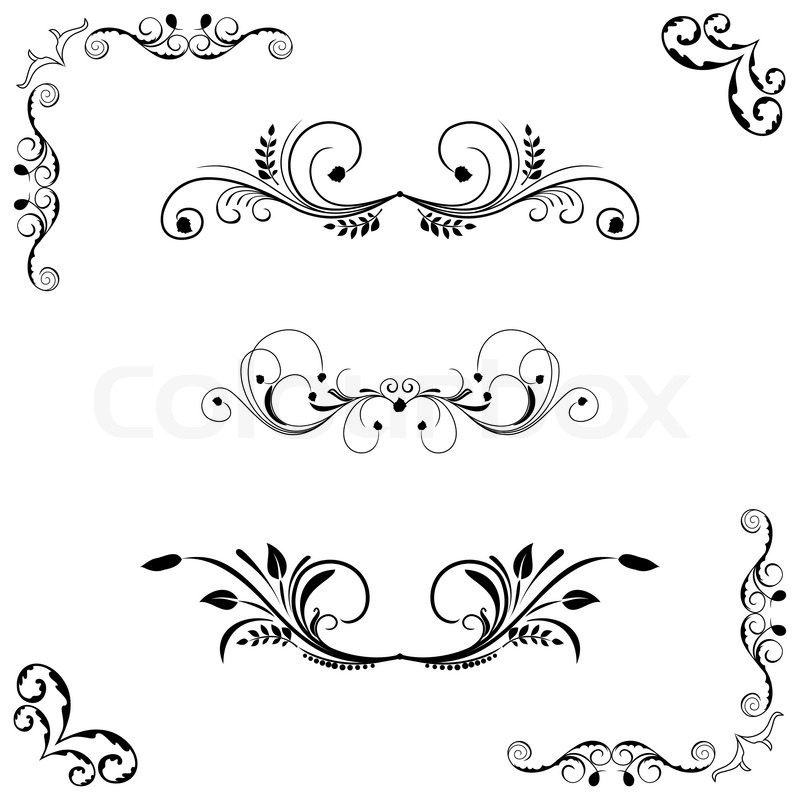 800x800 Set Of Floral Frame And Border. Vector Stock Vector Colourbox