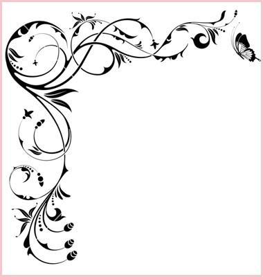 380x400 Simple Monogram Wedding Invitations Warm 18 Flower Border Vector