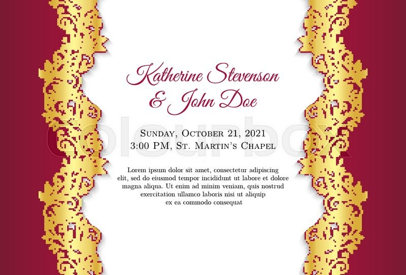 800x543 Classical Wedding Invitation With Golden Ornament Decoration And