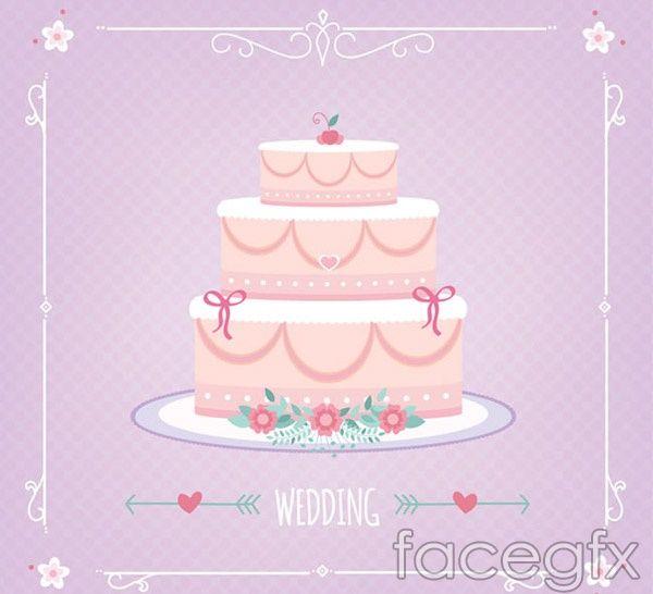 600x546 Pink Wedding Cake Vector Free Vectors Vector