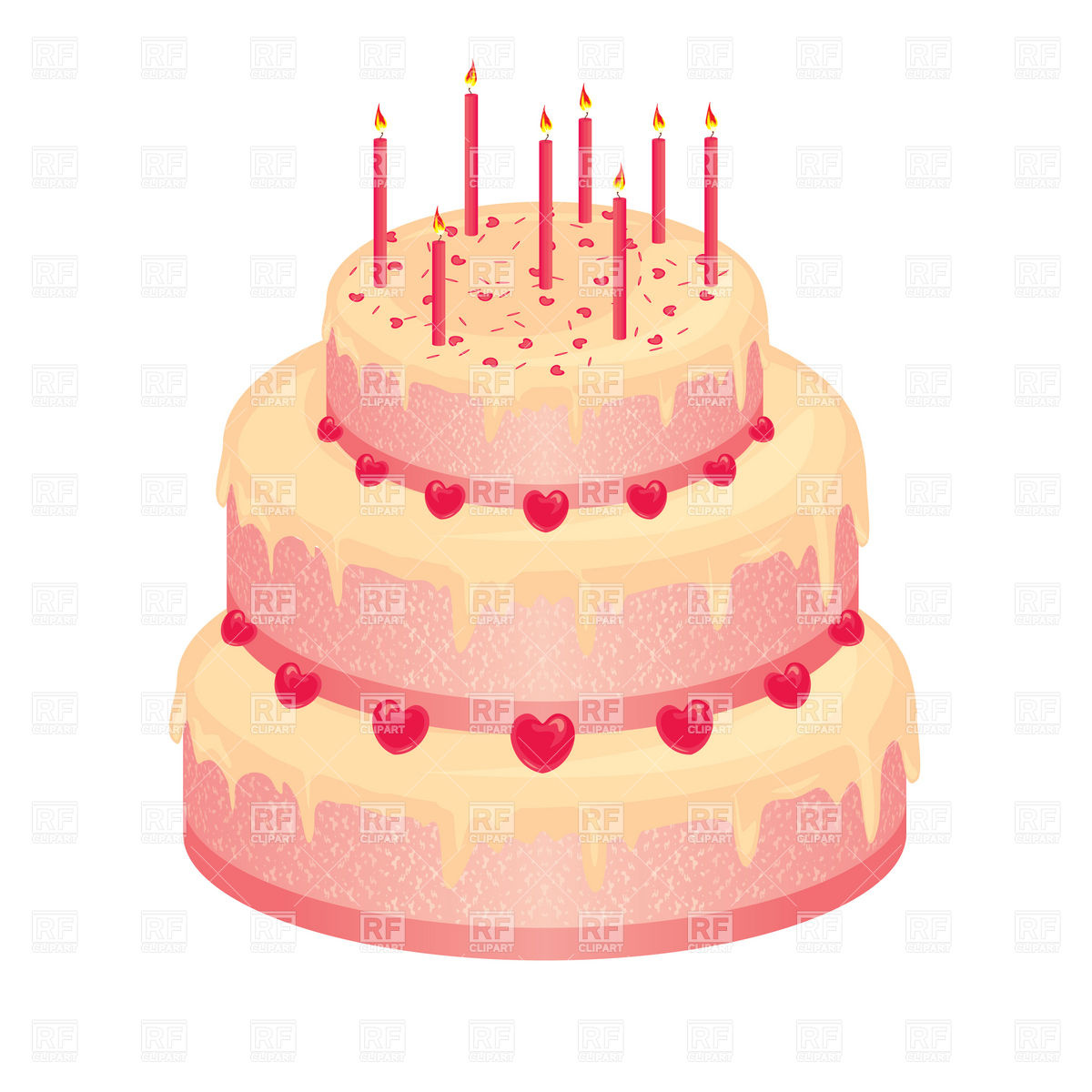 1200x1200 Sweet Pink Wedding Cake With Candles Vector Image Vector Artwork