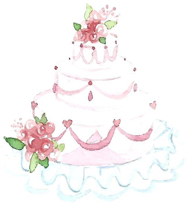 650x696 Watercolour Cake Vector Together With Beautiful Wedding Cake