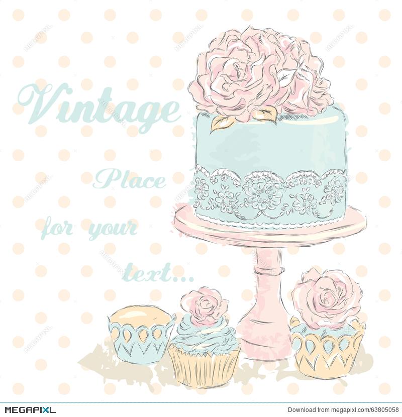 800x830 Wedding Cake Vector . Watercolor. Wedding Card . Vintage