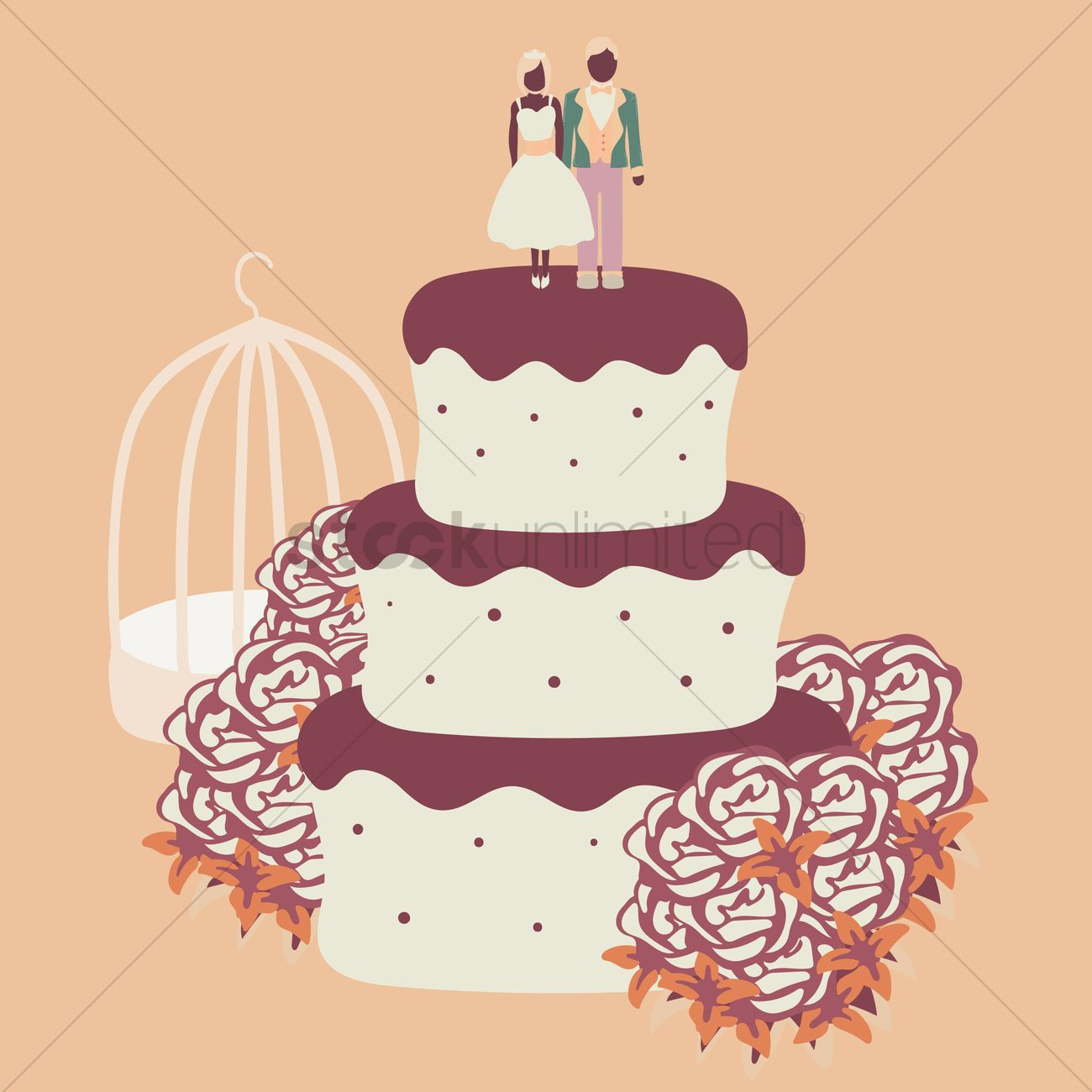 1300x1300 Wedding Cake Vector Image