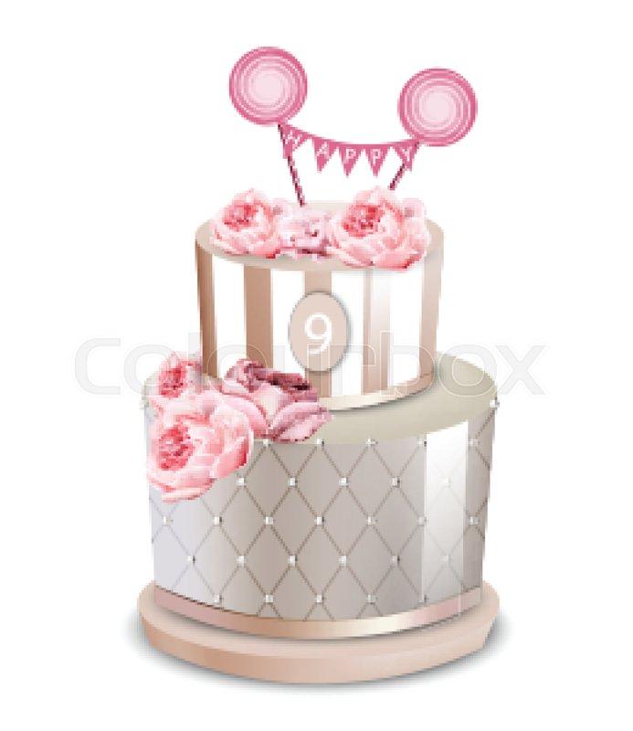 693x800 Wedding Cake Vector Realistic. Anniversary, Birthday Stock