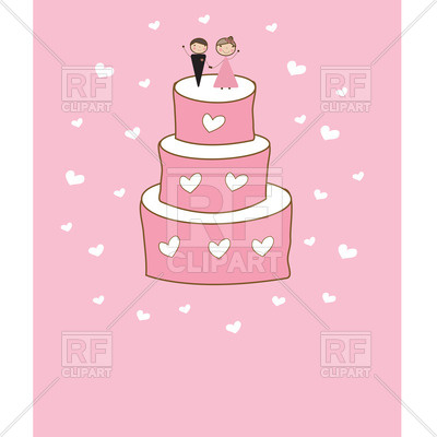 400x400 Cartoon Wedding Cake With Newly Married Couple Vector Image