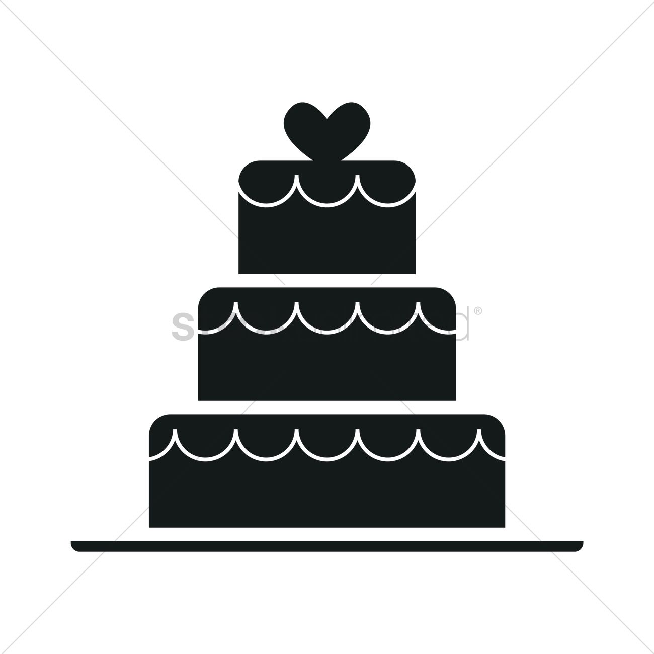 1300x1300 Wedding Cake Silhouette Vector Image