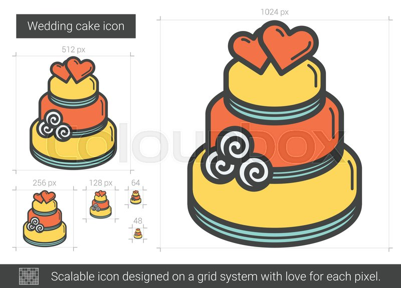 800x576 Wedding Cake Vector Line Icon Isolated On White Background