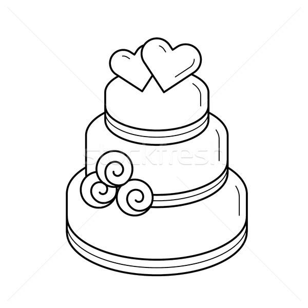 600x600 Wedding Cake Vector Line Icon. Vector Illustration Andrei