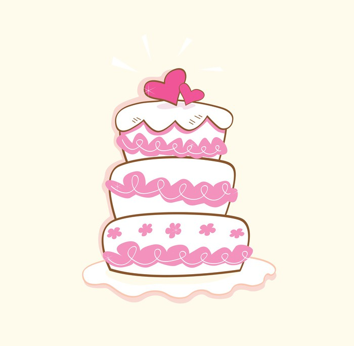 700x684 Wedding Cake. Pink Decorative Sweet Cake. Vector Illustration