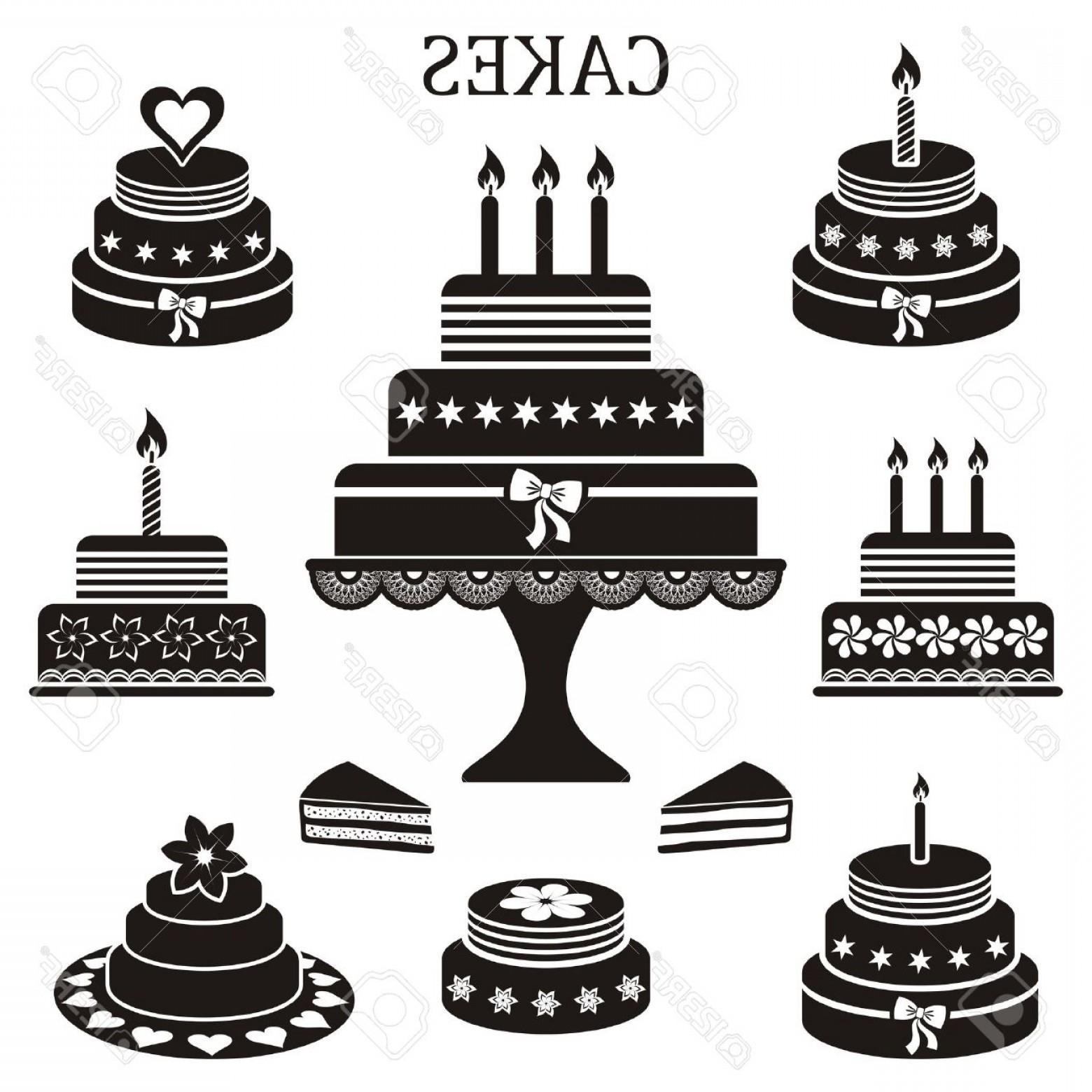 1560x1560 Photostock Vector Black Birthday And Wedding Cakes Vector