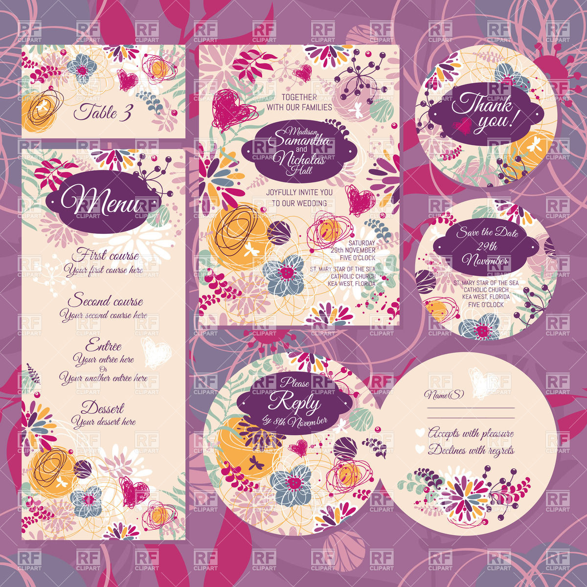 1200x1200 Set Of Floral Wedding Card Invitation Thank You Card, Rsvp