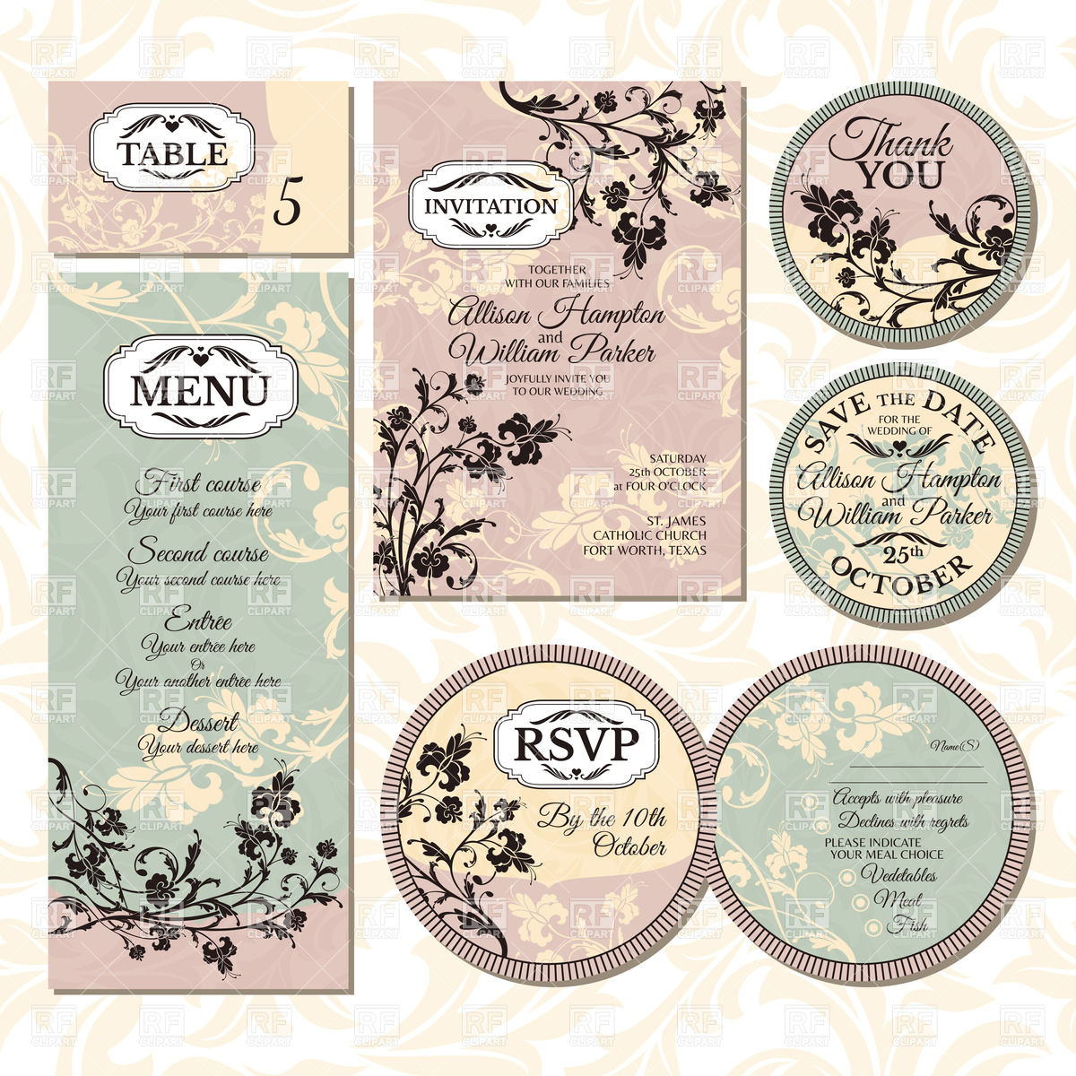 1200x1200 Set Of Vintage Wedding Cards With Floral Elements Invitation