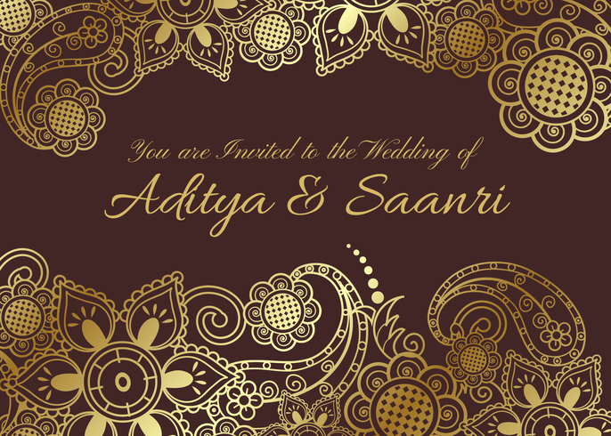 686x490 Vector Golden Indian Wedding Card