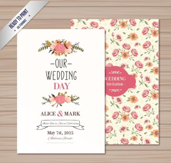 600x570 Vintage Rose Wedding Card Vector Free Vector In Adobe Illustrator