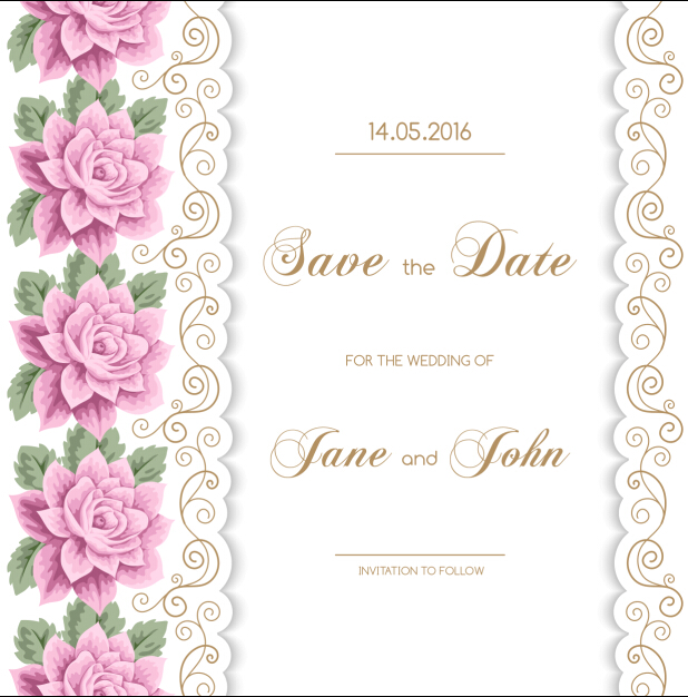 618x626 Wedding Invitation Card With Flower Vintage Vector 01 Free Download