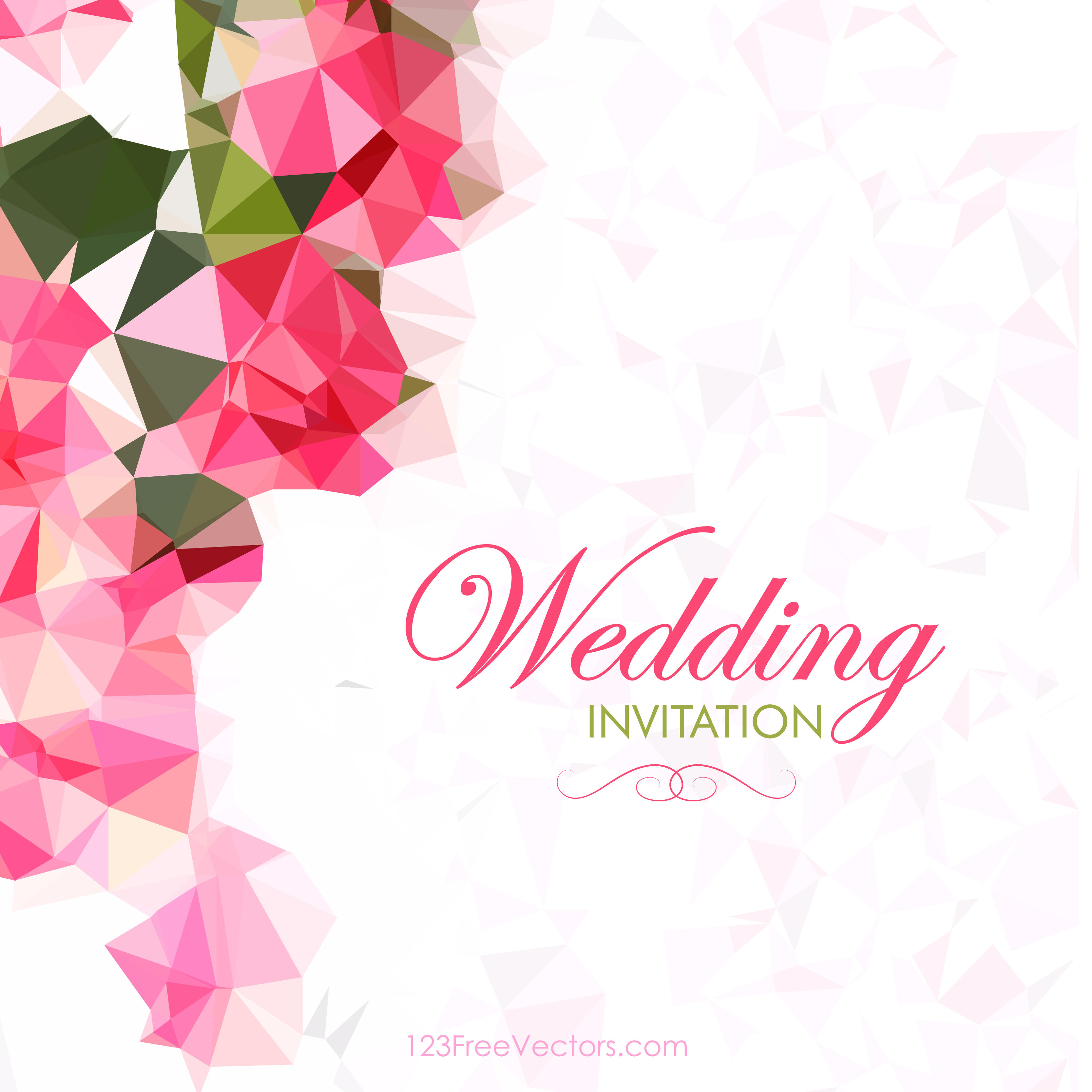 3333x3333 Abstract Pink Polygonal Wedding Card Template 123freevectors