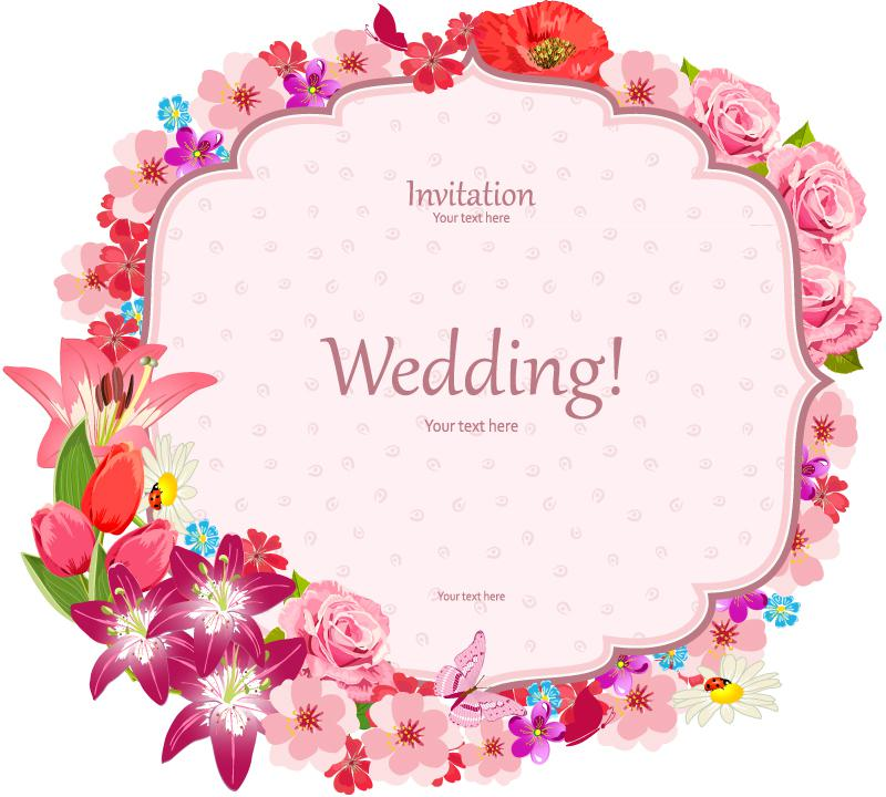 800x720 Elegant Flower Border Wedding Invitation Card Vector [Eps]