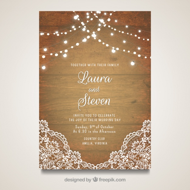 626x626 Elegant Wedding Card With Wooden Design Vector Free Download