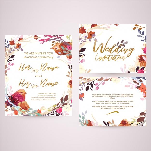 626x626 Floral Wedding Card Vector Premium Download