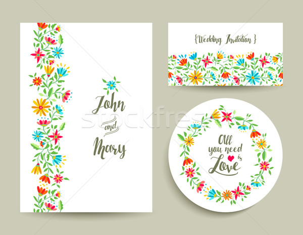 600x465 Flower Wedding Card Invitation With Nature Design Vector