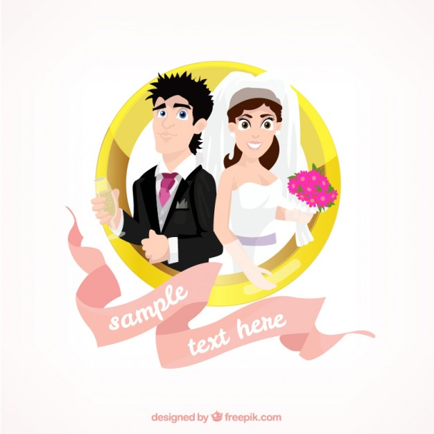 626x626 Illustrated Wedding Couple Vector Premium Download