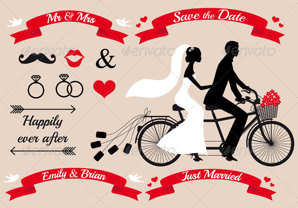 590x413 Wedding Couple On Tandem Bicycle, Vector By Amourfou Graphicriver