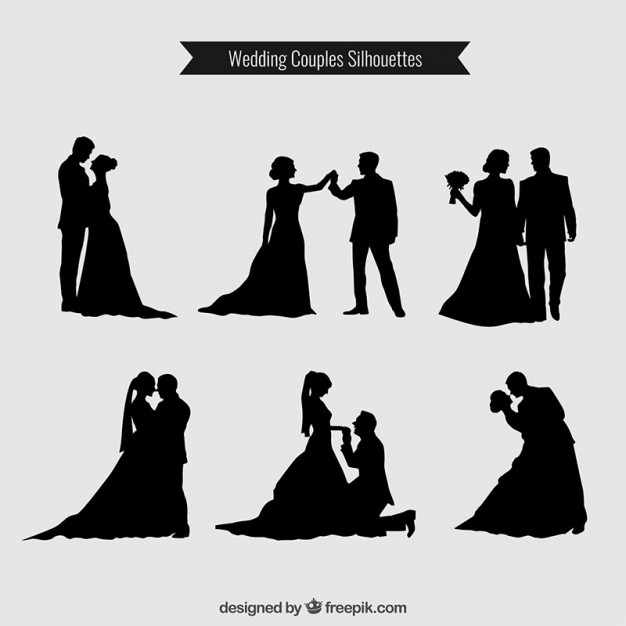 626x626 Wedding Couples Silhouettes Collection Vector Premium Download