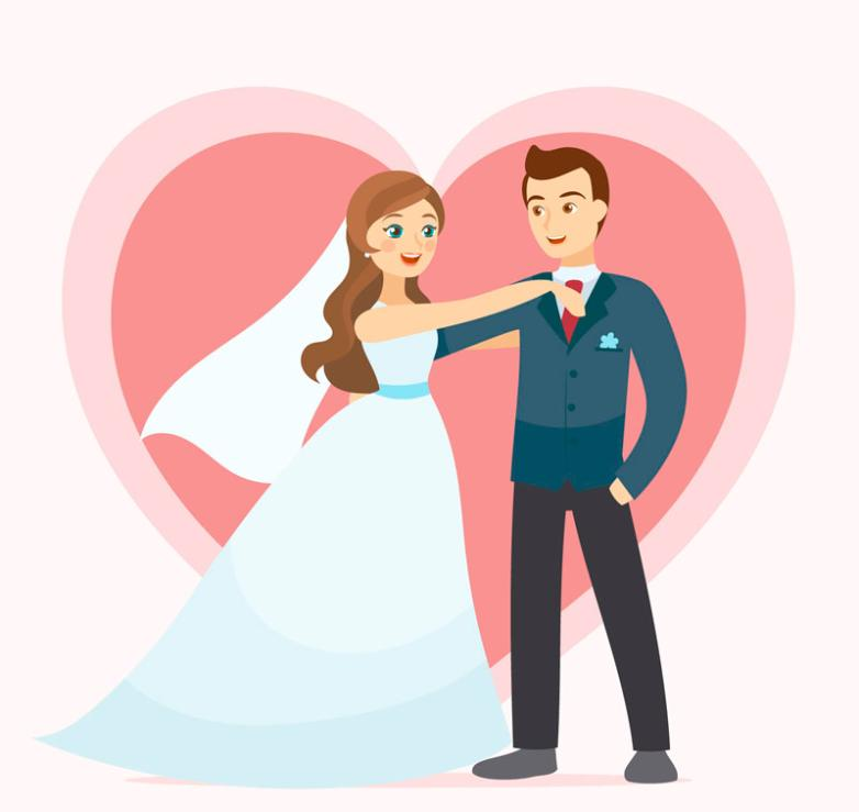782x739 Background Of Hearts Happy Wedding Couple Vector Free Vector