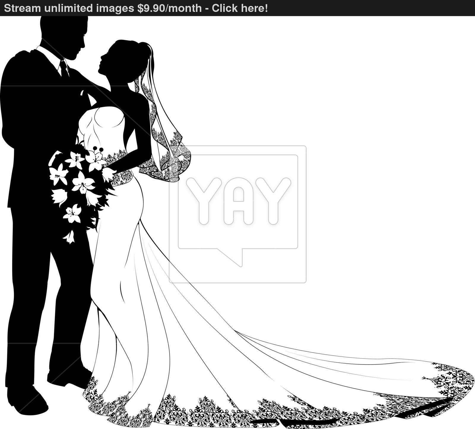 1600x1444 Wedding Couple Silhouette Vector